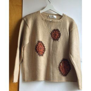 Vintage Tan Sweater with Crochet Daisy Size M